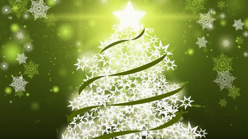 green christmas wallpaper xmas tree made white shining stars